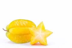 carambola för stjärnafrukt eller starfruit för stjärnaäpple på för fruktmat för vit bakgrund sund sikt för sida Arkivbild