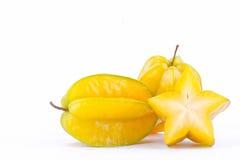 carambola för stjärnafrukt eller starfruit för stjärnaäpple på för stjärnafrukt för vit bakgrund isolerad sund mat Arkivfoto