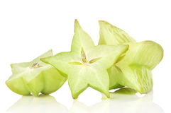 Carambola fruit. With slices isolated on white background Royalty Free Stock Images