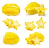 Carambola gwiazdowa owoc ustawiająca odizolowywającą obrazy stock