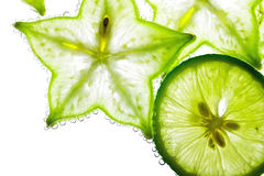Carambola and lime Royalty Free Stock Photos