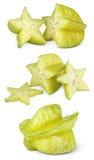 Carambola o starfruit con le fette Fotografia Stock Libera da Diritti