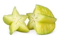 Carambola o starfruit en blanco Fotos de archivo libres de regalías