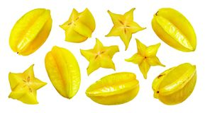 Carambola op witte achtergrond wordt geïsoleerd die, starfruit royalty-vrije stock foto's