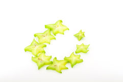 Carambola ring. Carambola slices in ring isolated on white Stock Photography