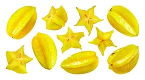 Carambola som isoleras på vit bakgrund, starfruit royaltyfria foton