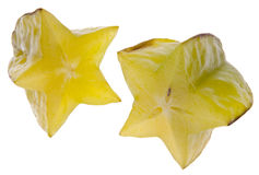 Carambola Starfruit getrennt auf Weiß Stockbilder