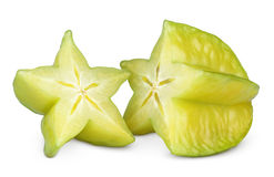 Carambola of starfruit op wit Royalty-vrije Stock Foto's