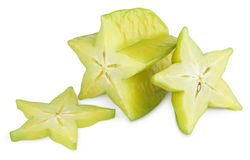 Carambola or starfruit with slices Royalty Free Stock Image