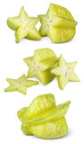 Carambola or starfruit with slices Royalty Free Stock Photography
