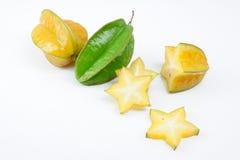 Carambolafruit met plakken stock fotografie