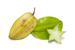 Carambole or  star fruit on white Royalty Free Stock Images