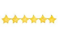 Carambolier - fruit d'étoile d'isolement sur le fond blanc Photo libre de droits