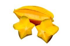 Carambolier - fruit d'étoile d'isolement sur le fond blanc Photos stock