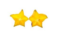 Carambolier - fruit d'étoile d'isolement sur le fond blanc Image stock