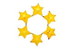 Carambolier - fruit d'étoile d'isolement sur le fond blanc Images stock