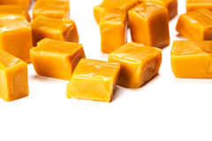 Caramel. Candy square shape image isolated on a white background Stock Photos