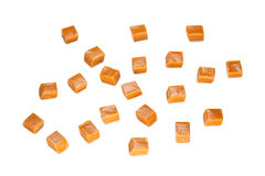 Caramel. Candy square shape image isolated on a white background Royalty Free Stock Image