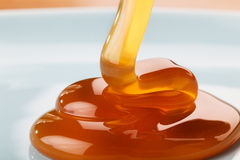 Caramel. Flowing on the blue plate Stock Image