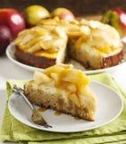 Caramel apple cheesecake pie Stock Photos
