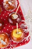 Caramel apple on stick Stock Image
