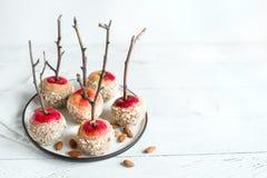 Caramel Apples with Almonds stock photos