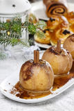 Caramel apples in christmas setting Royalty Free Stock Photography
