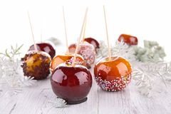 Caramel apples and decoration Royalty Free Stock Image
