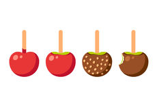 Caramel apples. Set of caramel apples  on white. Modern vector illustration Royalty Free Stock Image
