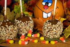 Caramel Apples With Candy Corn Royalty Free Stock Photography