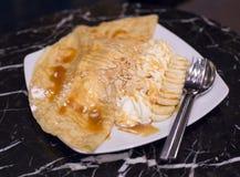 Caramel banana crape Royalty Free Stock Image