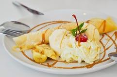 Caramel banana crepe ice cream Stock Images