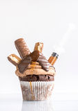 Caramel and biscuit cupcake Royalty Free Stock Photo