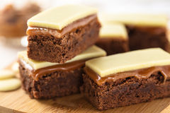 Caramel brownie bars Royalty Free Stock Photos