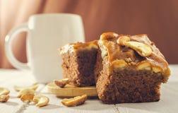 Caramel brownie toffee cake Stock Photos