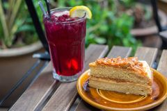 Caramel butter cake and drinks Royalty Free Stock Photo