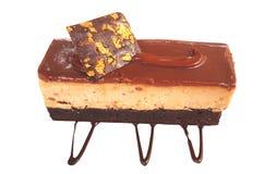 Caramel cake, mousse dessert Stock Images
