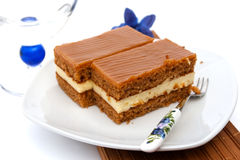 Caramel cake slice Royalty Free Stock Photo