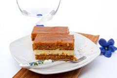 Caramel cake slice. Piece of sweet cake with caramel cream Stock Images