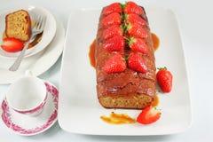 Caramel cake with strawberry Stock Image