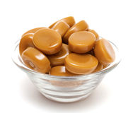 Caramel candies in glass bowl Royalty Free Stock Photo
