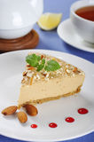 Caramel cheesecake with almond Stock Image