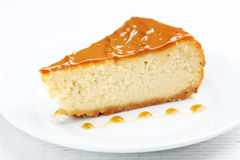 Caramel cheesecake Stock Images