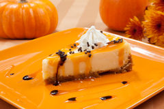 Caramel Cheesecake and Pumpkins Stock Photo