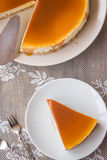 Caramel cheesecake. Salted caramel cheesecake on the table Royalty Free Stock Photos