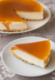 Caramel cheesecake. Salted caramel cheesecake on the table Stock Images
