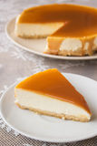 Caramel cheesecake. Salted caramel cheesecake on the table Royalty Free Stock Images