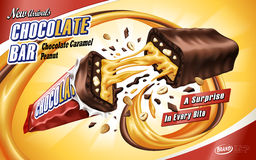 Caramel chocolate bar ad. Broken in the middle with chocolate and caramel flows,  orange background, 3d illustration Royalty Free Stock Images