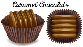 Caramel chocolate in brown cup Stock Image