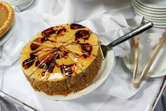 Caramel chocolate cake. On a plate Stock Photography